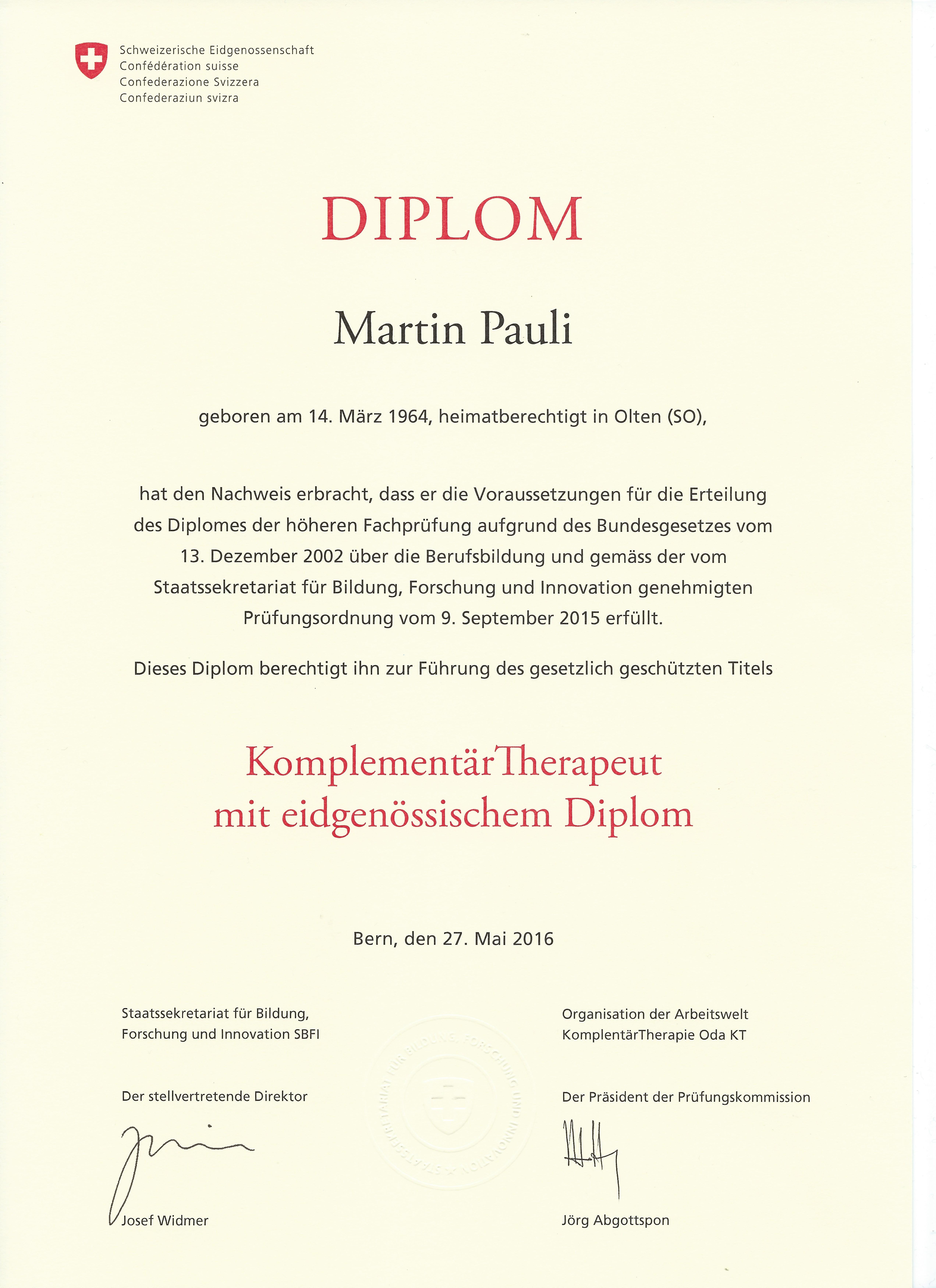 Eidgenössisches Diplom